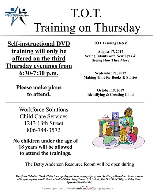 Tots Training On Thursdays Workforce Solutions South Plains